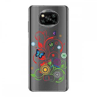 Kadłub dla Xiaomi Poco X3 NFC w silikonowym miękkim 1 mm, motyle i koła