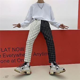 Módní vintage kostkované patchwork žena muž kalhoty kalhoty