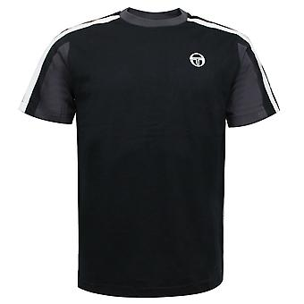 Sergio Tacchini Mens Fritzi T-Shirt Stripe Svart Topp 38738 177
