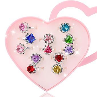 Hifot 12 pcs girls crystal adjustable rings, princess jewelry finger rings with heart shape box, gir