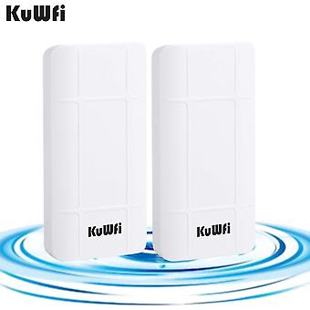 Kuwfi wireless outdoor access point, 2-pack 300mbps outdoor poe cpe wireless bridge kit, indoor & ou
