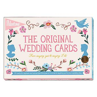Svadba drží karty podľa míľnika - novo zasnúbené spomienky svadba