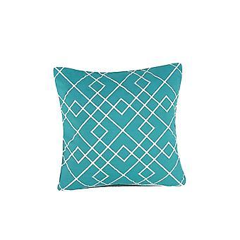 Oreiller géométrique d'accent de tissu de modèle, bleu et blanc
