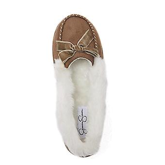Jessica Simpson Womens micro Suede Moccasin indoor sapato chinelo ao ar livre