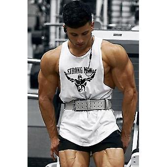 Bodybuilding Workout Gym Väst Bomull Ärmlös Skjortor Tank