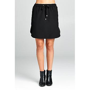 Mini nederdel med elastisk talje slips