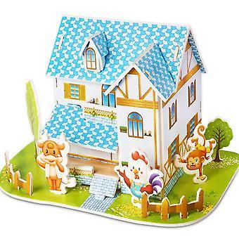 魅力的な漫画の城,庭, 動物園, プリンセスハウス 3Dパズルジグソー紙