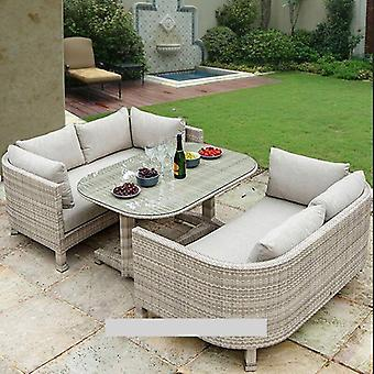3 Pcs Outdoor Dining Set , Metal Frame Coveration Set All-weather, Rattan