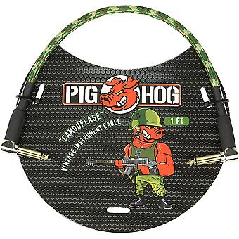 "Pig hog pch1cfr right-angle 1/4"" camoflauge instrument patch cable, 1 foot"