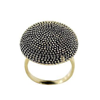 Circular Dome Top Black Antiquing Beaded Detail Ring