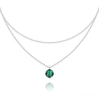 Silver double chain emerald  choker