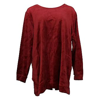 Denim & Co. Women's Plus Top Velour Long-Sleeve Tunic Red A390299