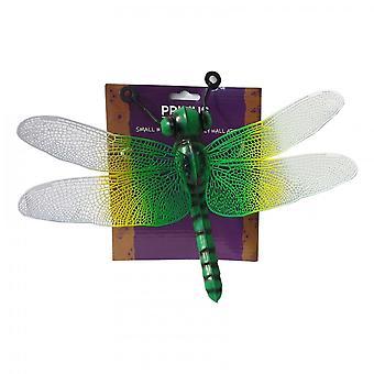 Primus Small Metal Dragonfly Home Garden Wall Art Ornament - Vert