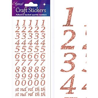 Oaktree UK Ltd - Craft Stickers - Stylised Number Set - Rose Gold