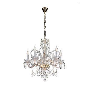 Kolarz AMARO - Klassisk Kristall Murano Glas 5 Arm Ljuskrona Polerat Guld, 5x E14