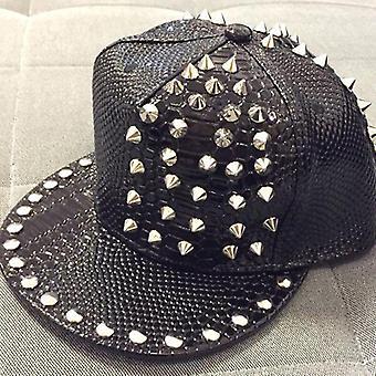 Spiked Rivet Nail Handmade Snakeskin Leather Snapback Baseball Cap Hats