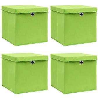 vidaXL Aufbewahrungsboxen mit Deckel 4 Stk. Grün 32×32×32 cm Stoff