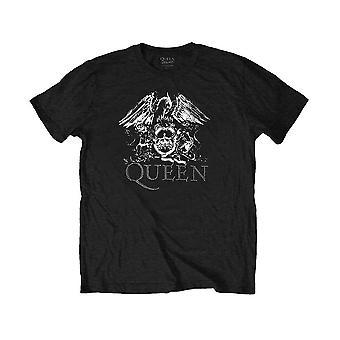Men's Queen Crest Logo Diamante Black T-Shirt