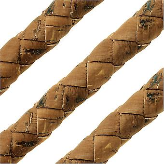 Portuguese Cork Cord by Regaliz, Round and Braided 10mm, Saddle Brown, by the Inch
