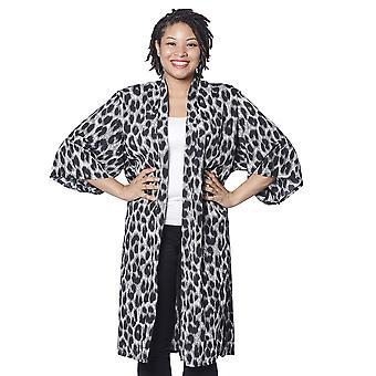 Black and White Leopard Pattern Duster Long Kimono  Free Size