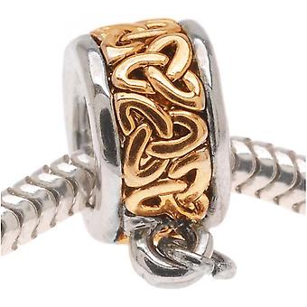 22K Gold Plated Celtic Knot Trinity Bead - Charm Bail With Loop - European Style Large Hole (1)