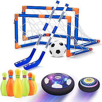 Air Power Plávajúce futbalové hračky Kit Futbalový disk Vznášajúci sa futbalový zápas Ľahká hračka Blikajúce loptové hračky s futbalovými cieľmi set