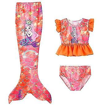 140 سم البرتقال 3pcs الفتيات ملابس السباحة حورية البحر للسباحة حورية البحر x7377