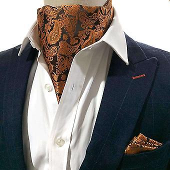 حرق البرتقال بيزلي cravat & جيب مجموعة مربع
