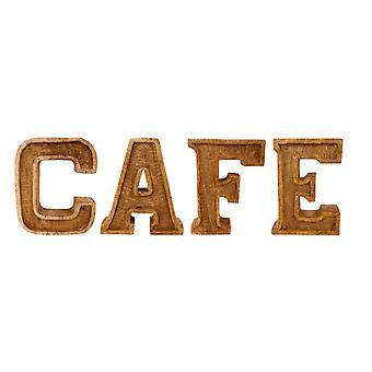 Ręcznie rzeźbione drewniane wytłaczane listy Cafe