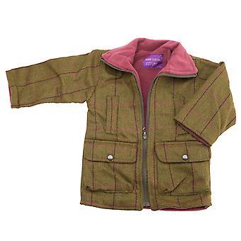 Lasten vaaleanpunainen fleece vuorattu vetoketjullinen tweed-takki