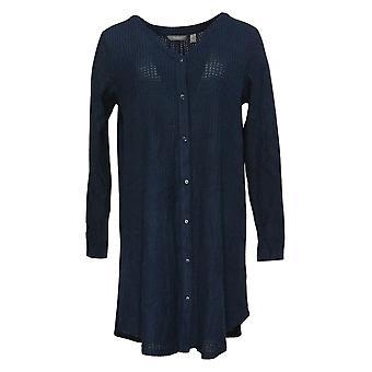 Enhver Kvinders børstet vaffel knap Front Sleepshirt Blue A345167