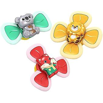 Sucção Cup Spinner Top Toy, Baby Early Learner Toys, Bath Toys For Kids(3pcs )