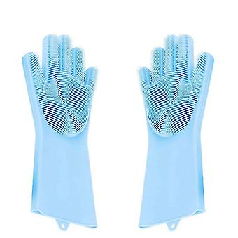 Magic Silicone Gloves Scrubbing Gloves For Dishes Dishwashing Gloves(Blue)