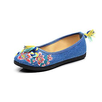 Women's Chinese Ethnic Embroidery Flat Ballet Marry Janes Cheongsam Dancing Shoes Color Rope