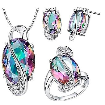 Luxury Necklace Earrings Ring Set(Multicolor)
