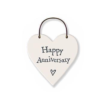 Happy Anniversary Mini Wooden Hanging Heart - Cracker Filler Gift