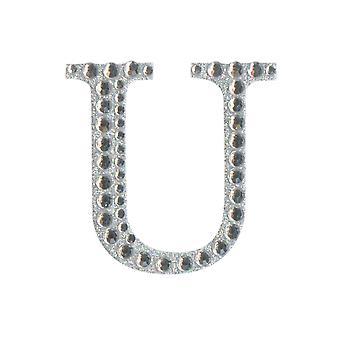 5cm Klar Selvklebende Diamante Bokstaver - U | Diamante Edelstener Utsmykninger