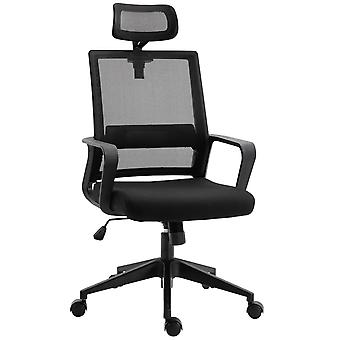 HOMCOM Mesh Swivel Office Chair with Adjustable Headrest, Lumbar Support, Home Task High Back Chair Adjustable Height, Black
