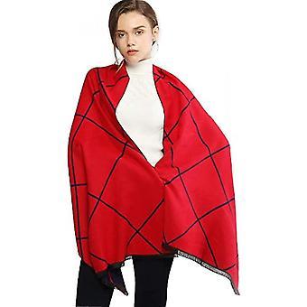 Women Winter Scarf Warm Pashmina Shawl Wrap With Tassel Plaid Reversible(Red-navy)