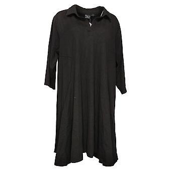 Mujeres con Control Plus Vestido Stretch Denim Swing Black A378251