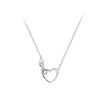 Spring and Summer Silver plating Pendant Necklace Ladies Heart-shaped Sexy Clavicle Chain Jewelry