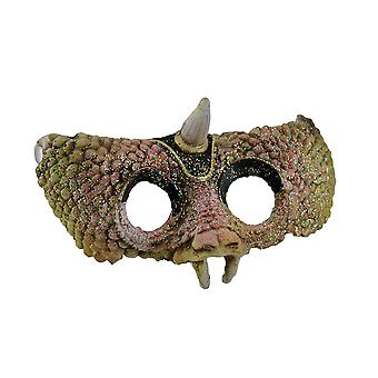 Rogaty jaszczurem teksturowanej pół twarzy maska