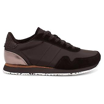 Woden Black Nora 111 Metallic Lace Up Trainers