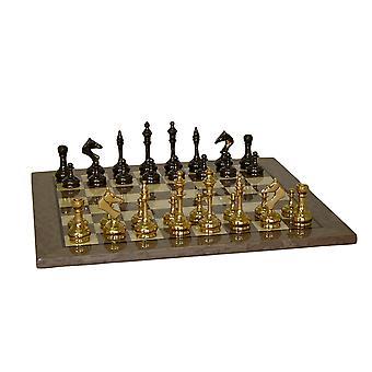 Messing slanke mannen schaakspel met grijze Briar Board