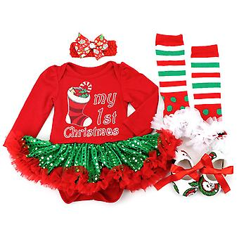 Toddler Baby Infant Girl My 1st Christmas Outfit Set Xmas Clothes Gift