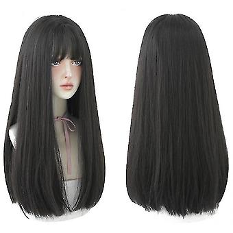 Long black straight hair wig with bangs synthetic high density long hair(color3) halloween gift