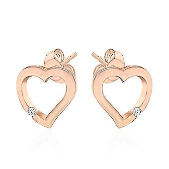 Elanza Cubic Cirkónia Szív fülbevaló Rózsa aranyozott ezüst barátnőnek/feleségnek