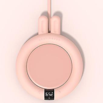 Smart touch drankjes bekers verwarming en verwarmen onderzetters (Roze met konijn)