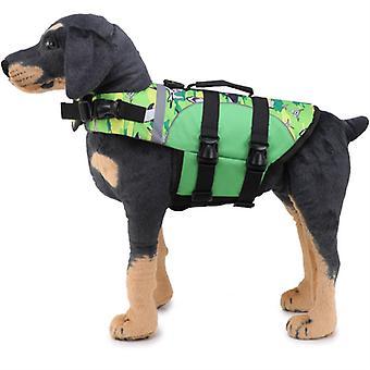 Mimigo Dog Life Jacket Pet Floatation Vest Dog Lifesaver Dog Life Preserver For Water Safety At The Pool, Beach, Boating Green Shark