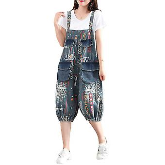 Woman Plus Size Overalls Printed Demin Jeans